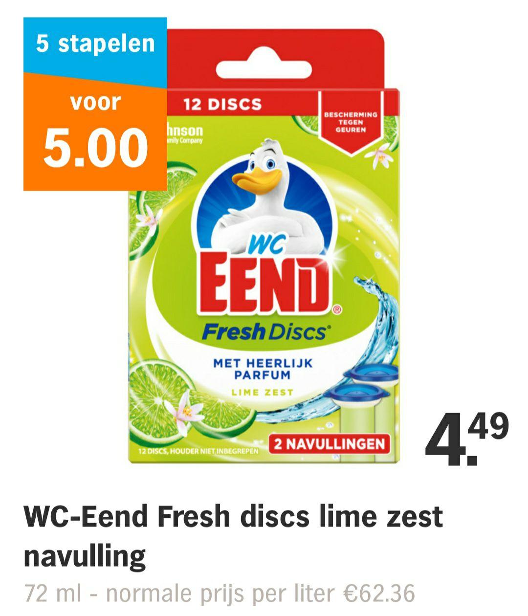 WC-Eend Fresh discs lime zest navulling 72ml, 5 voor 5 euro @AH