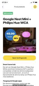 Voor vattenfall leden Google nest mini, + 1x hue white and color ambiance e27