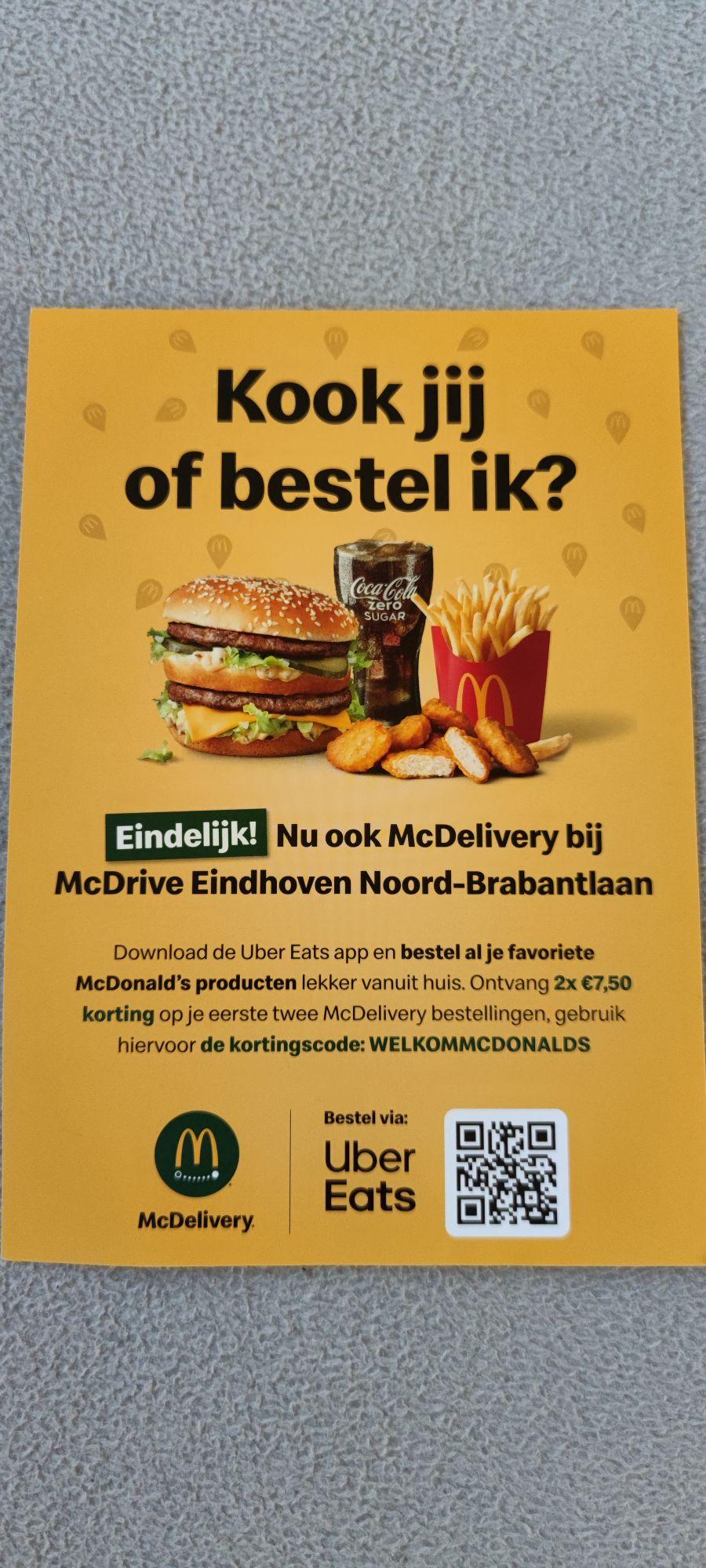 (WAARSCHIJNLIJK ALLEEN LOKAAL, EINDHOVEN) 2x €7.50 korting bij McDonalds Noord Brabantlaan via Uber eats