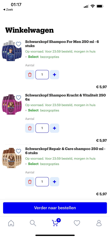 Bol.com Schwarzkopf shampoo €1,- per stuk