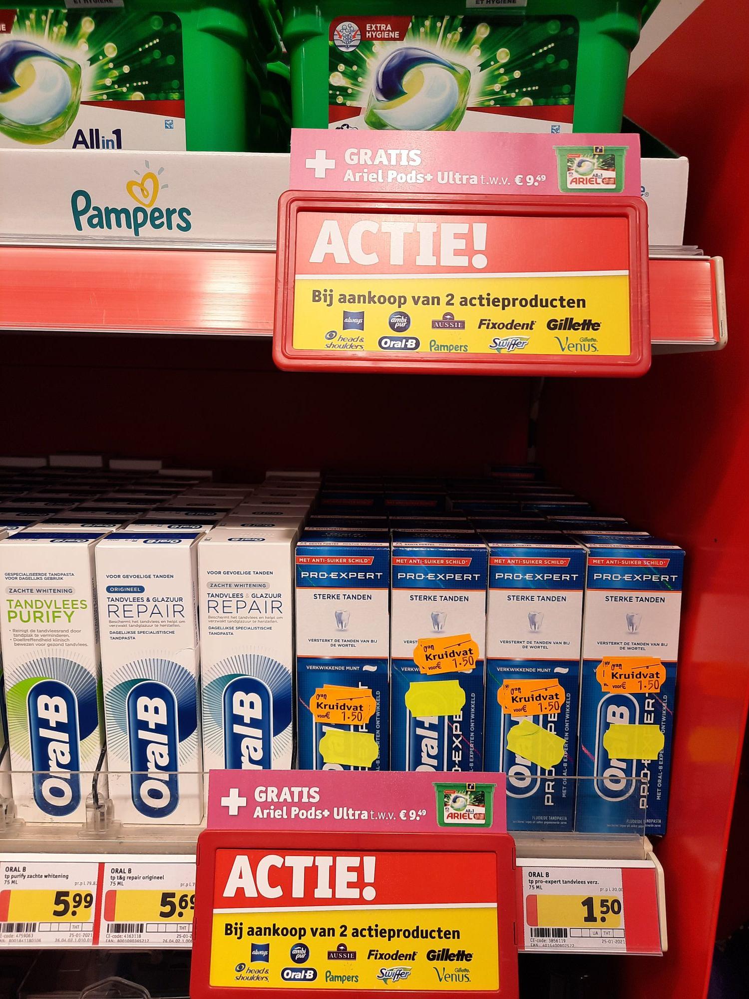 Gratis Ariel Pods bij 2 Oral-B tandpasta's met gele sticker!
