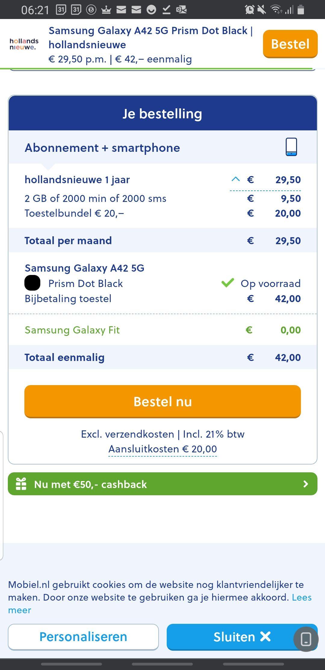 Samsung Galaxy A42 5G smartphone + Samsung Galaxy fit + 7gb data abonnement voor 12 maanden + €50 Cashback