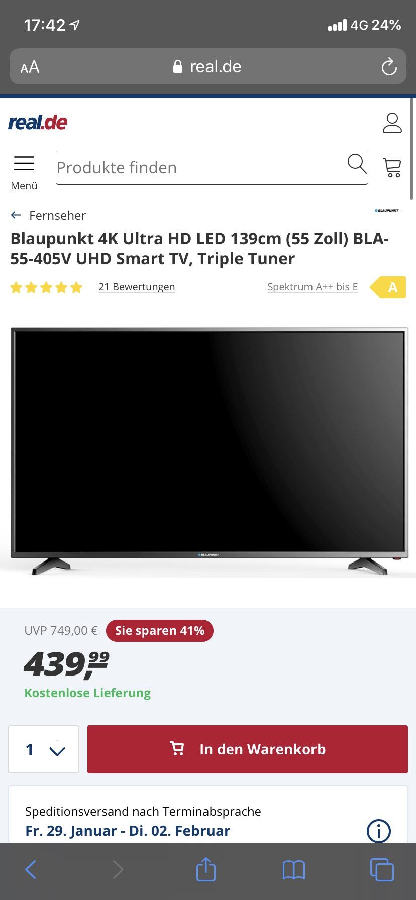 Blaupunkt 4K Ultra HD LED 139cm (55 Zoll) BLA-55-405V UHD Smart TV, Triple Tuner