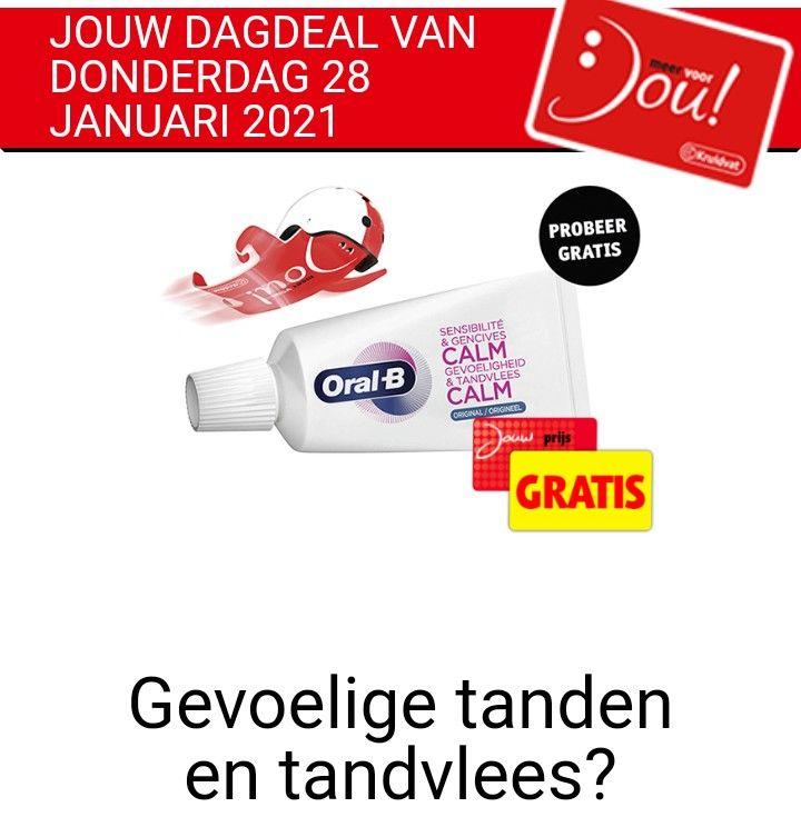 Gratis Oral-B Gevoeligheid en Tandvlees Calm tandpasta's met jouw voordeelkaart in de winkel Kruidvat
