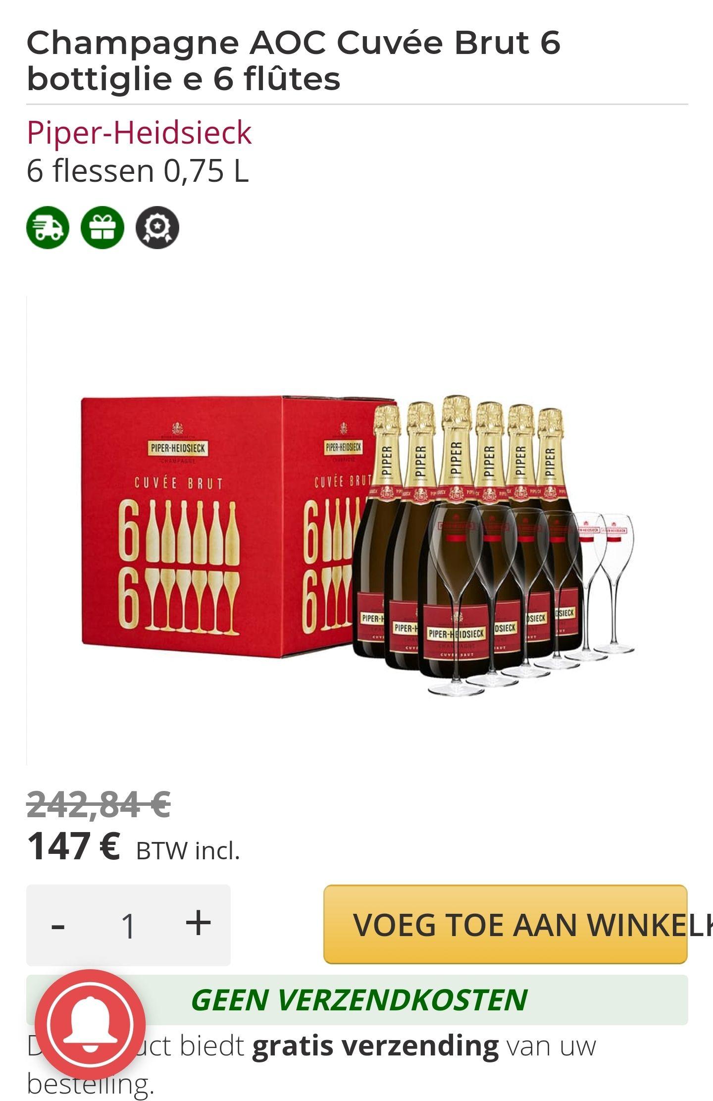 6 flessen Champagne AOC Cuvée Brut en 6 Piper-Heidsieck gezeefdrukte fluiten
