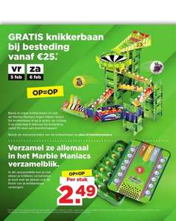Gratis knikkerbaan marble maniacs @plus bij besteding 25 euro