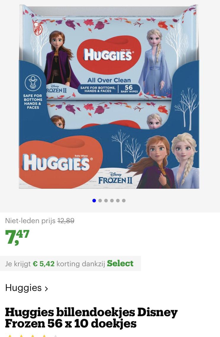 [select deal bol.com] Huggies billendoekjes Disney Frozen 56 x 10 doekjes
