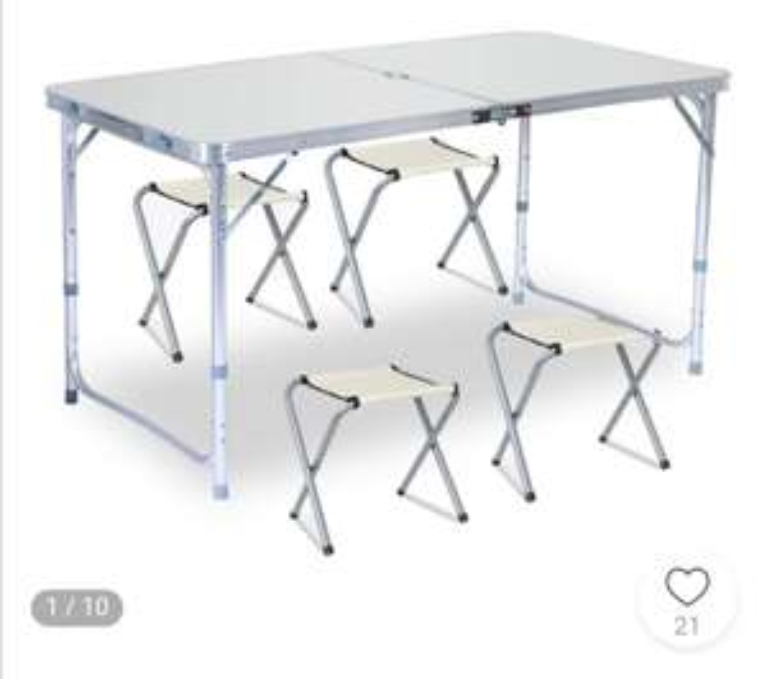 Inklapbare aluminium tafel met 4 stoelen eu shipping