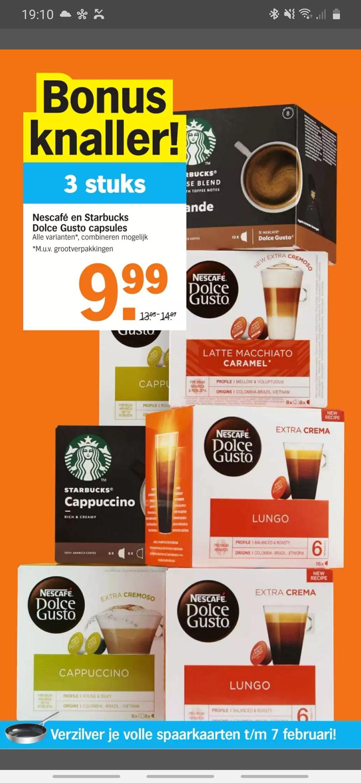 3 doosjes Nescafé en Starbucks Dolce Gusto capsules voor €9,99