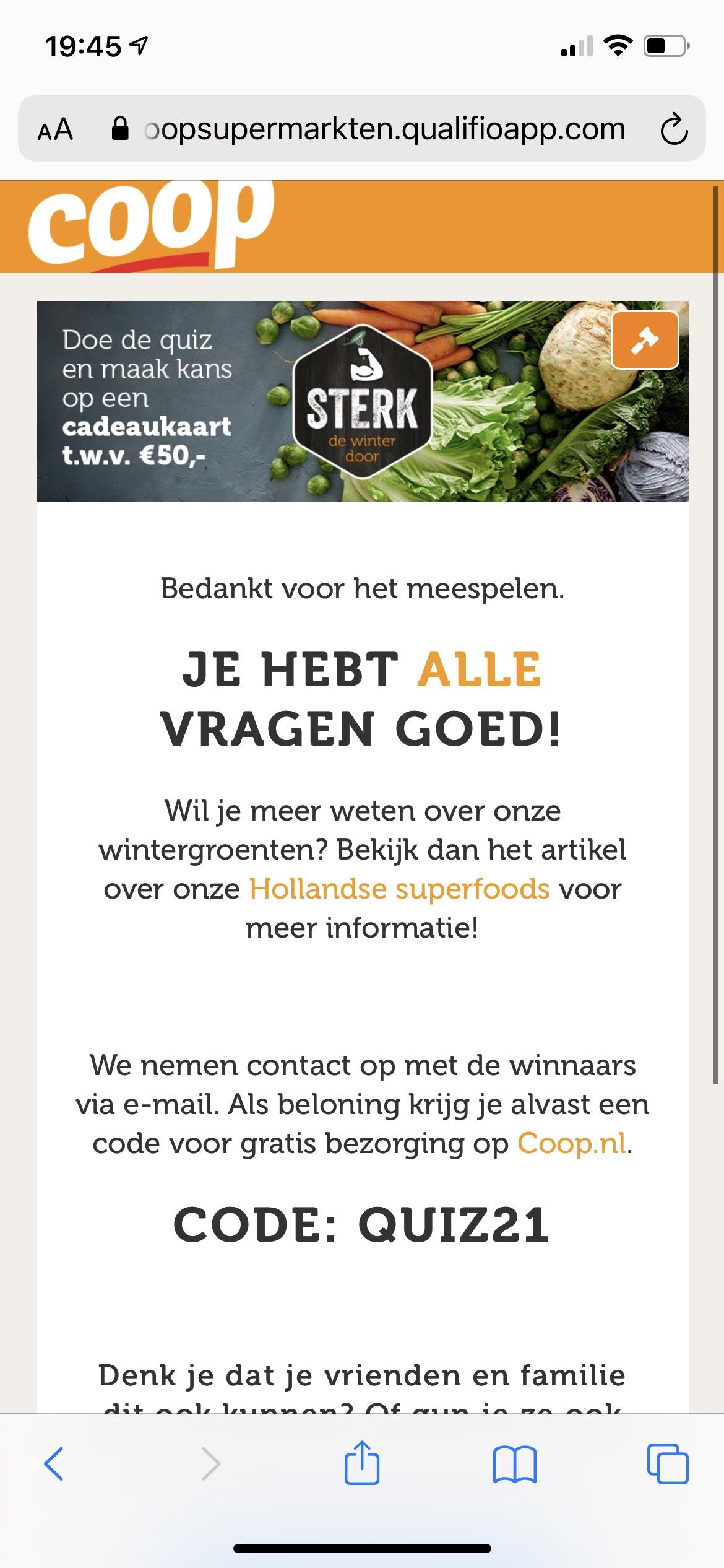 Coop gratis bezorging & kans op €50