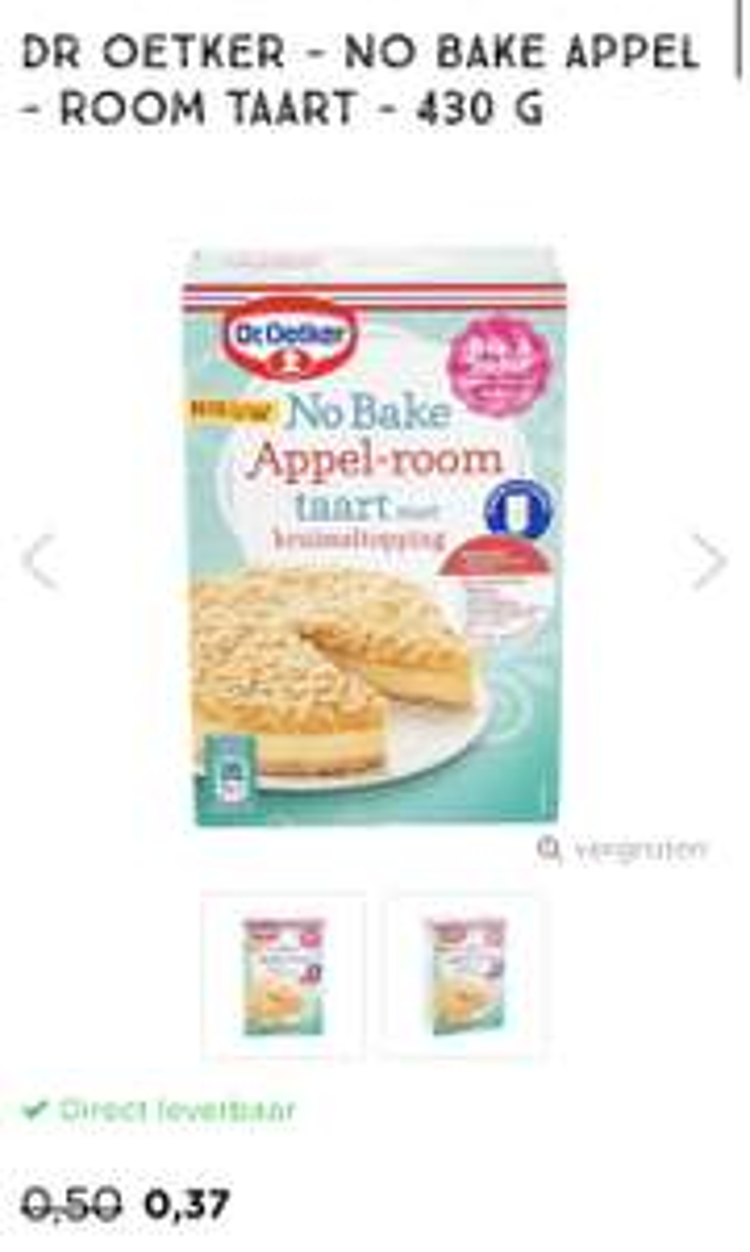 Xenos €0,37 Dr Oetker - no bake appel - room taart - 430 G zie beschrijving voor meer