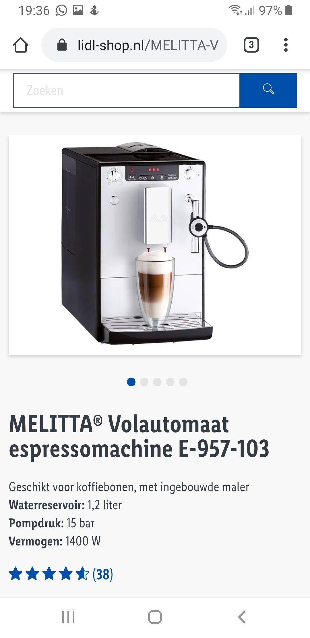 MELITTA® Volautomaat espressomachine E-957-103 €399 @Lidl webshop
