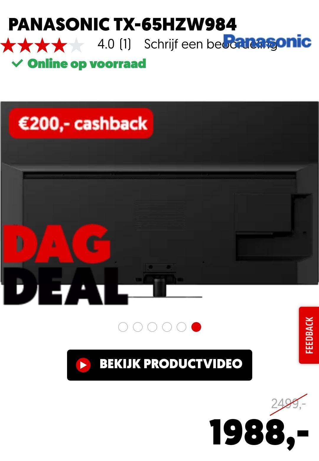 Dagdeal MediaMarkt! Panasonic tx-65hzw984 4k OLED TV. Na cashback € 1788,- Elders v.a. 2299