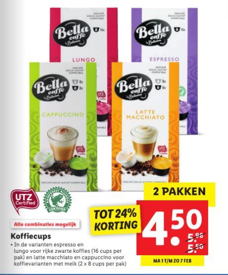 Dolce Gusto koffiecups van Lidl 2x 16 cups voor €4,50