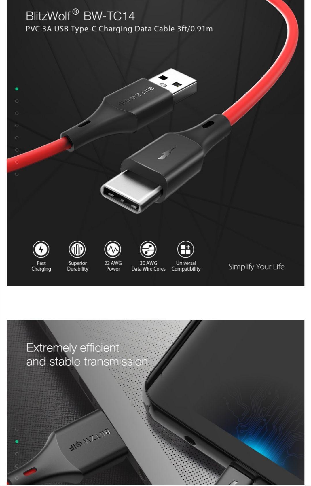 5 pack BlitzWolf usb c snellader kabel