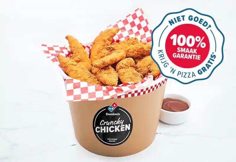Gratis pizza-voucher na aankoop Bucket Crunchy Chicken Filets @Domino's.