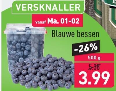 500g Blauwe Bessen €4 @ Aldi (26% korting)