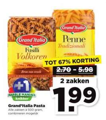 Alle zakken Grand'italia Pasta tot 67% korting @ Plus (+ gratis Marble Maniacs knikker)