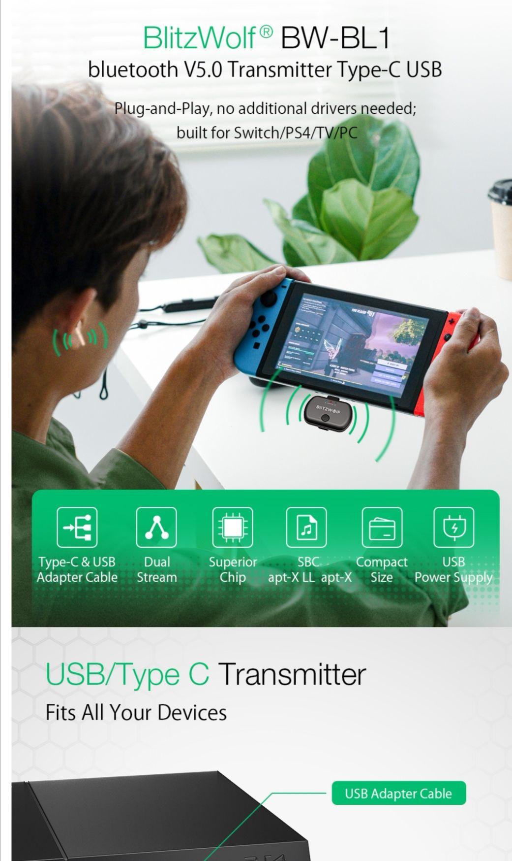 BlitzWolf bw-bl1 Bluetooth transmitter&receiver eu shipping