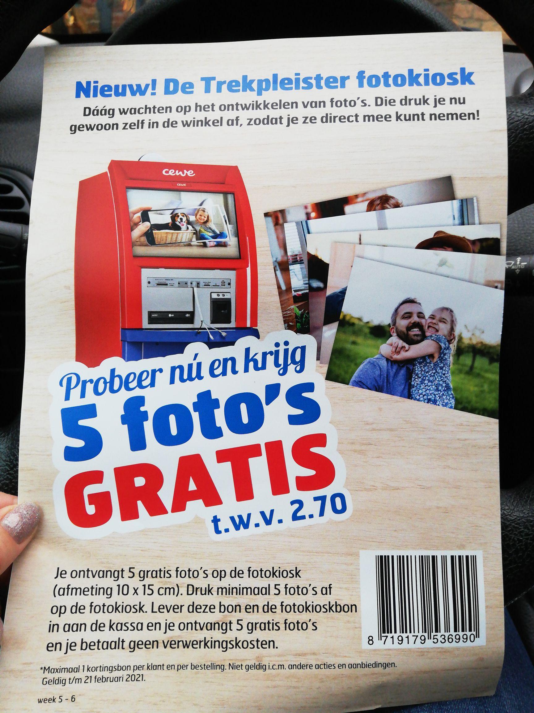 5 gratis foto's printen bij Trekpleister!