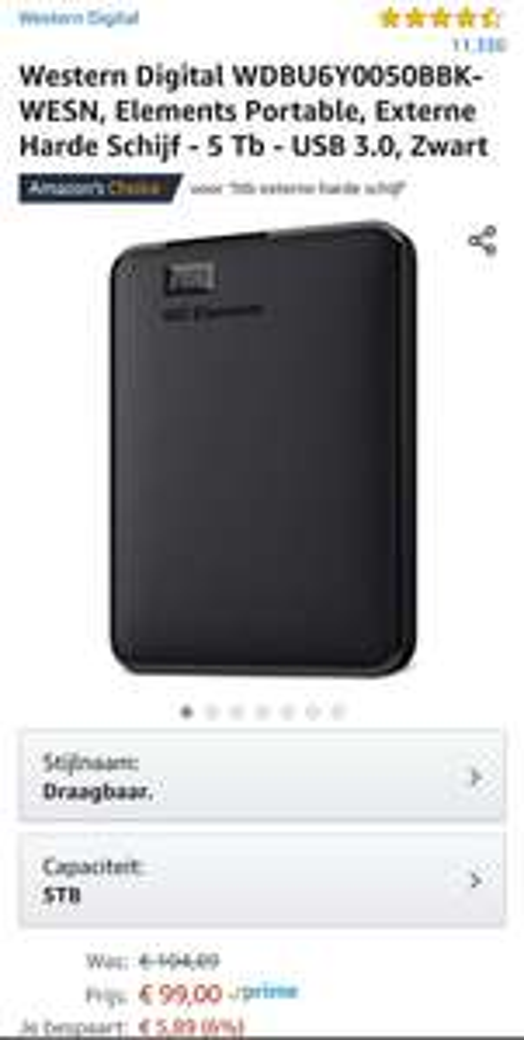 WD Elements Portable USB 3.0 5TB Zwart