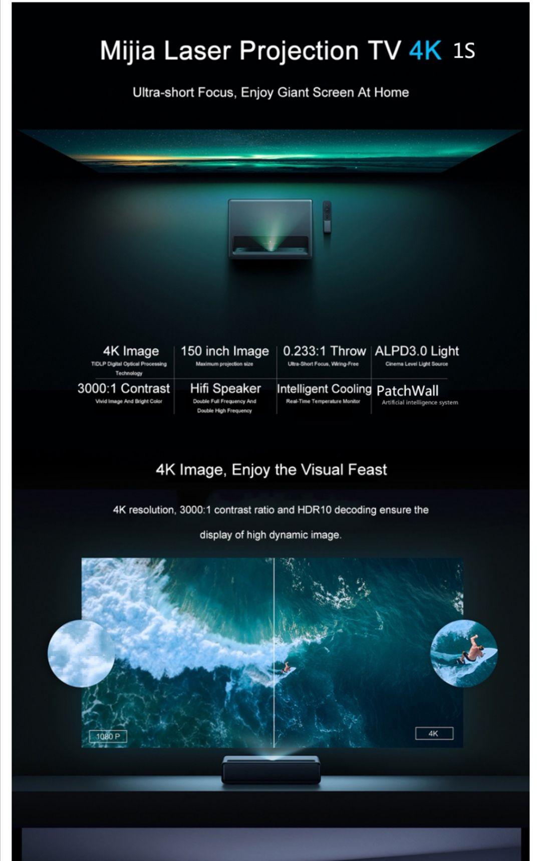 Nieuwe versie Xiaomi Mijia 1S 4K Cinema Laser Projector 2000 ANSI Lumens 150 inch ALPD 4K 3D BT 4.0 MIUI TV Xiaomi Projector eu shipping