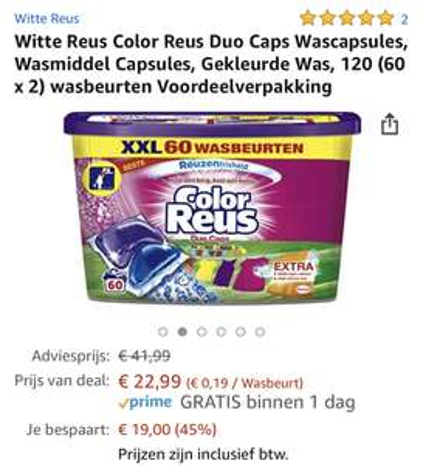 Witte Reus Color Reus Duo Caps Wascapsules, Wasmiddel Capsules, Gekleurde Was, 120 (60 x 2) wasbeurten Voordeelverpakking
