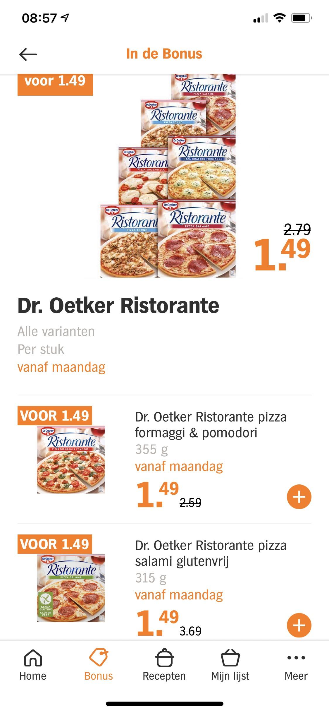 AH: Dr. Oetker Ristorante 1,49€ per stuk ook glutenvrij!