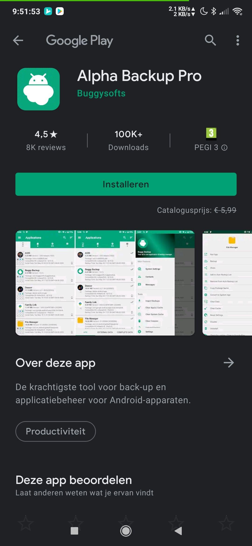 Alpha Backup Pro (Android) gratis ipv 5,99.-
