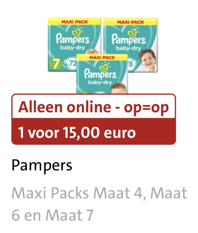 Pampers baby dry maxipack maat 4, 6 en 7.