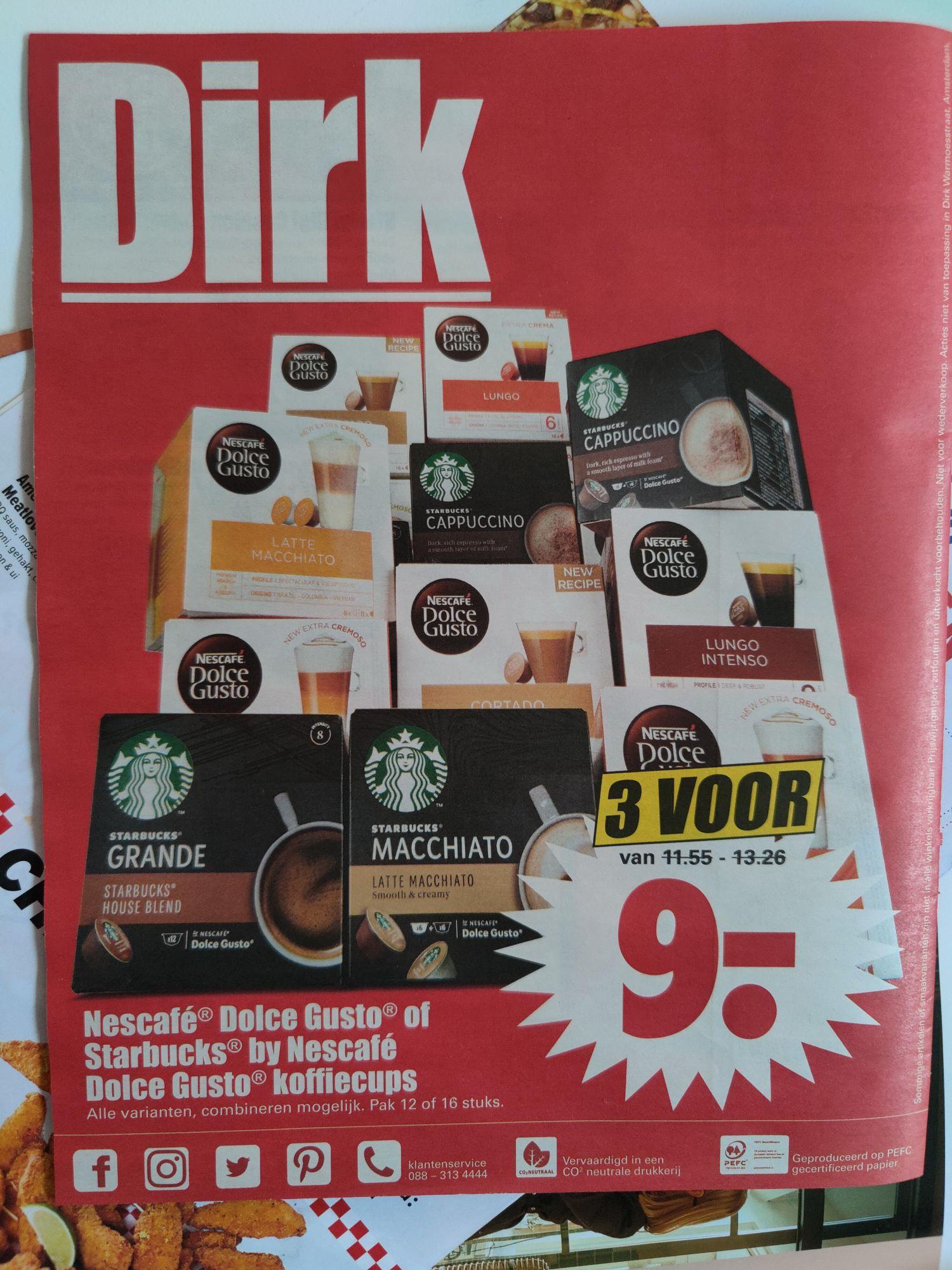 3 pakken Dolce Gusto / Starbucks voor 9 euro
