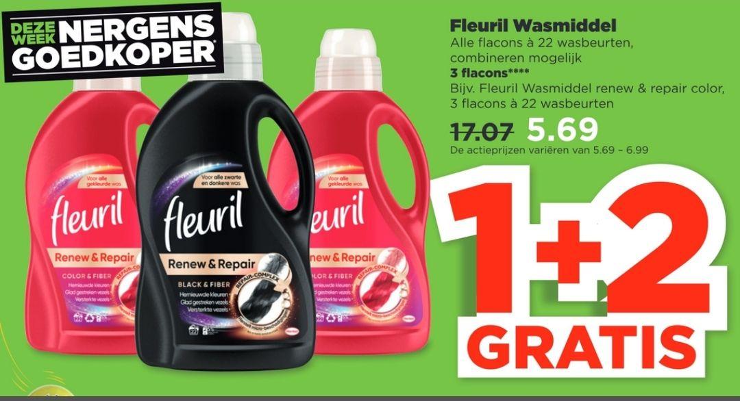 Fleuril wasmiddel 1 plus 2 gratis