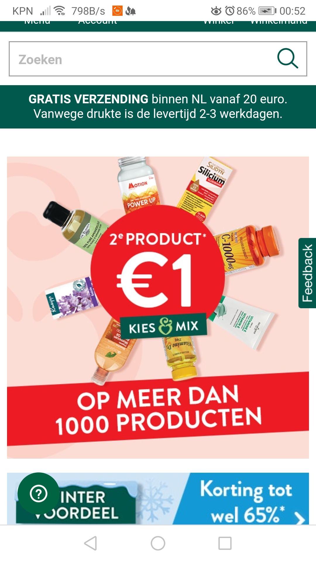2e product 1 euro op meer dan 1000 producten.