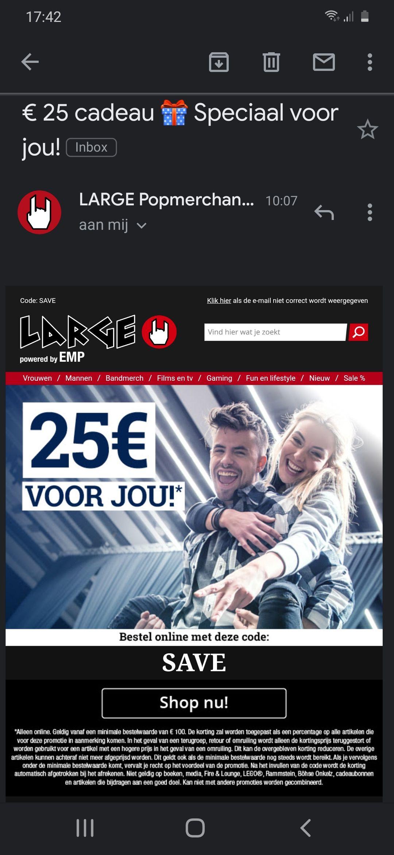 25€ korting bij besteding van 100