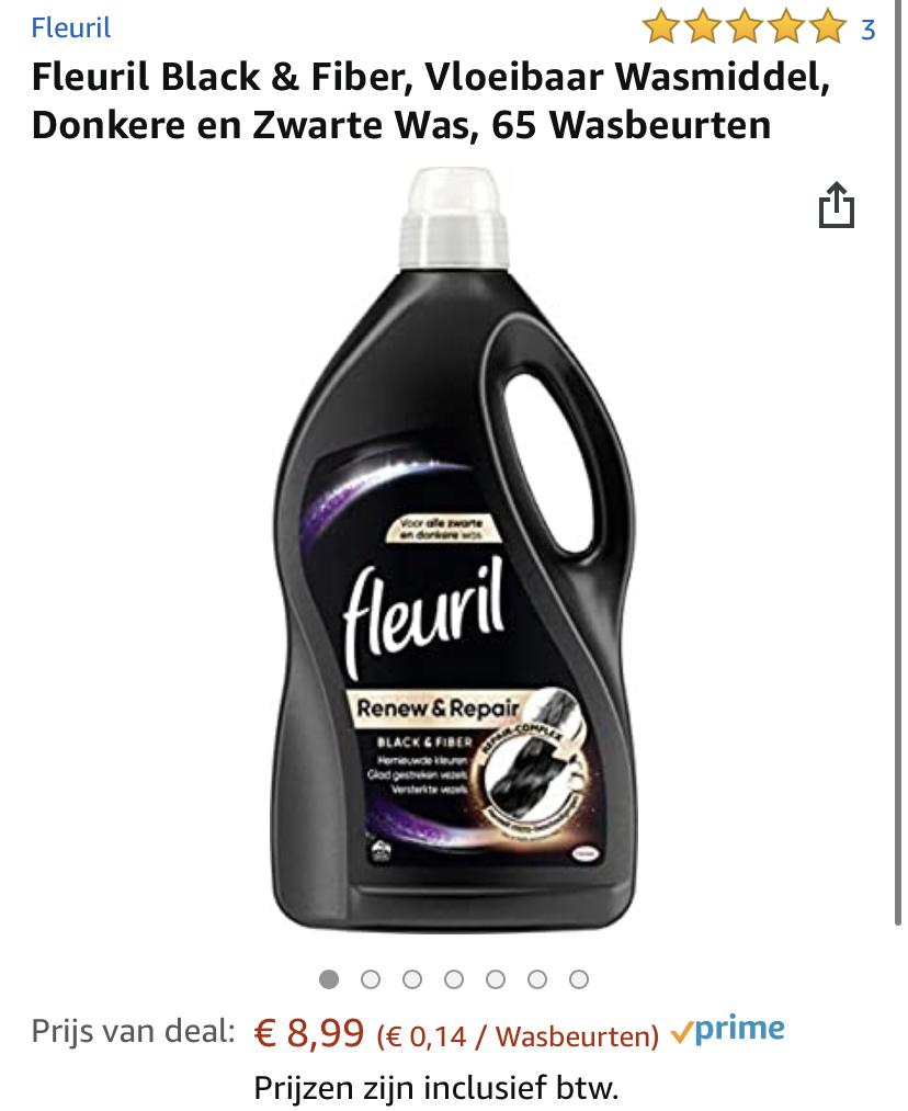Fleuril White, Black & Fiber, Vloeibaar Wasmiddel, Witte, Donkere en Zwarte Was, 65 Wasbeurten