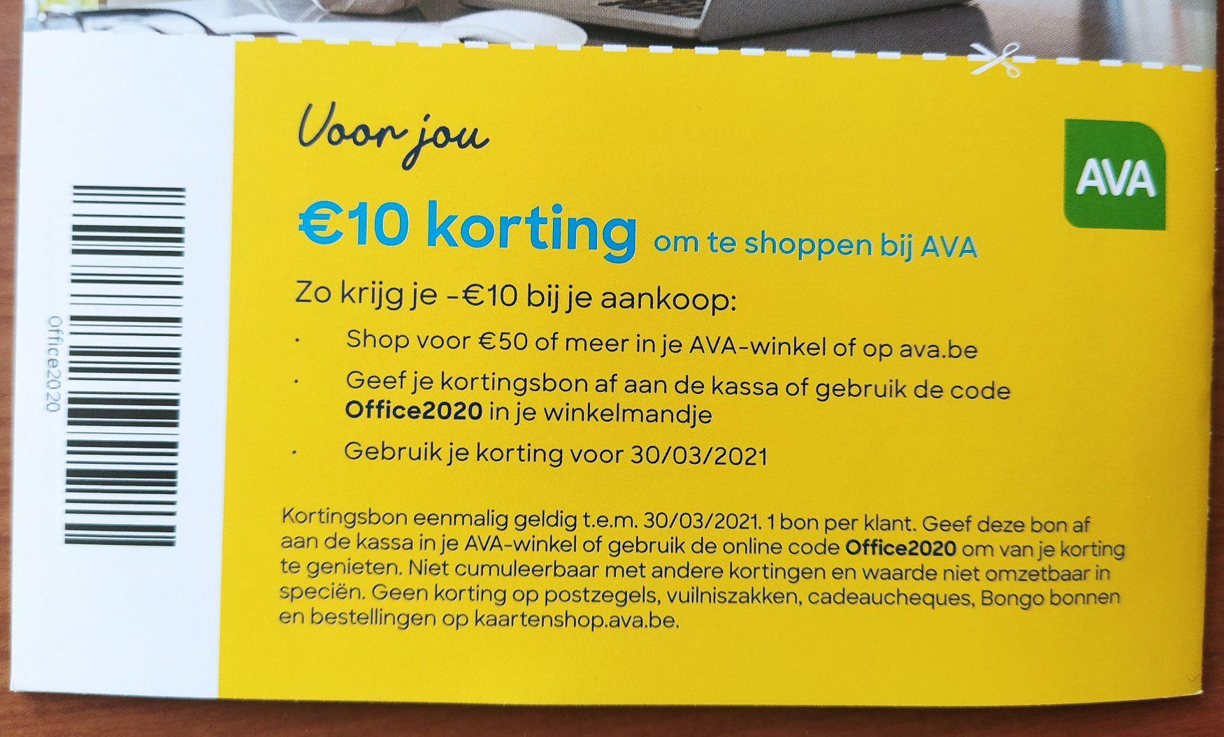 €10 korting op ava.be vanaf €50 [België]