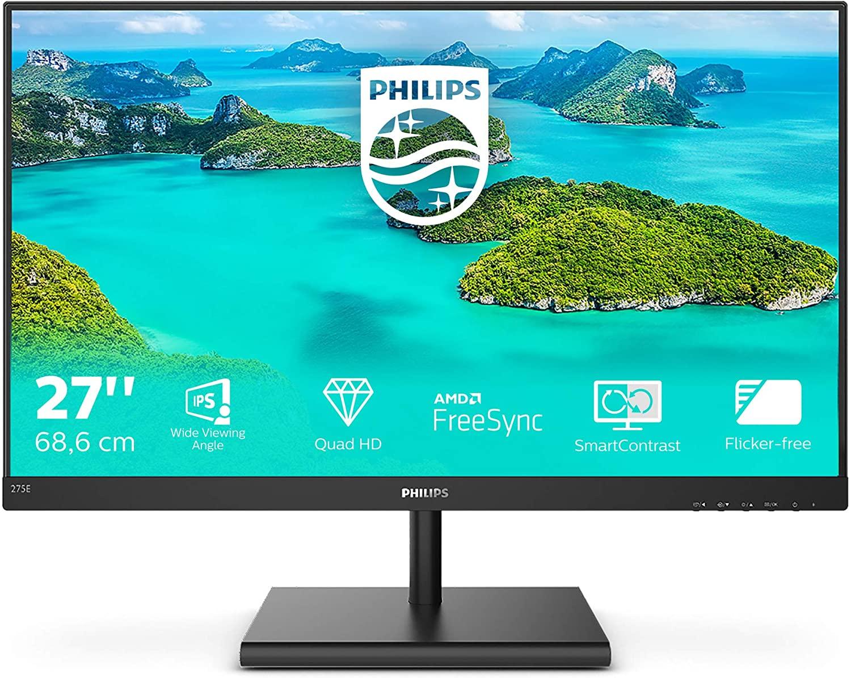 Philips E-line 275E1S Zwart monitor 27'' 2560x1440 (WQHD) €169,99 @Amazon Nederland