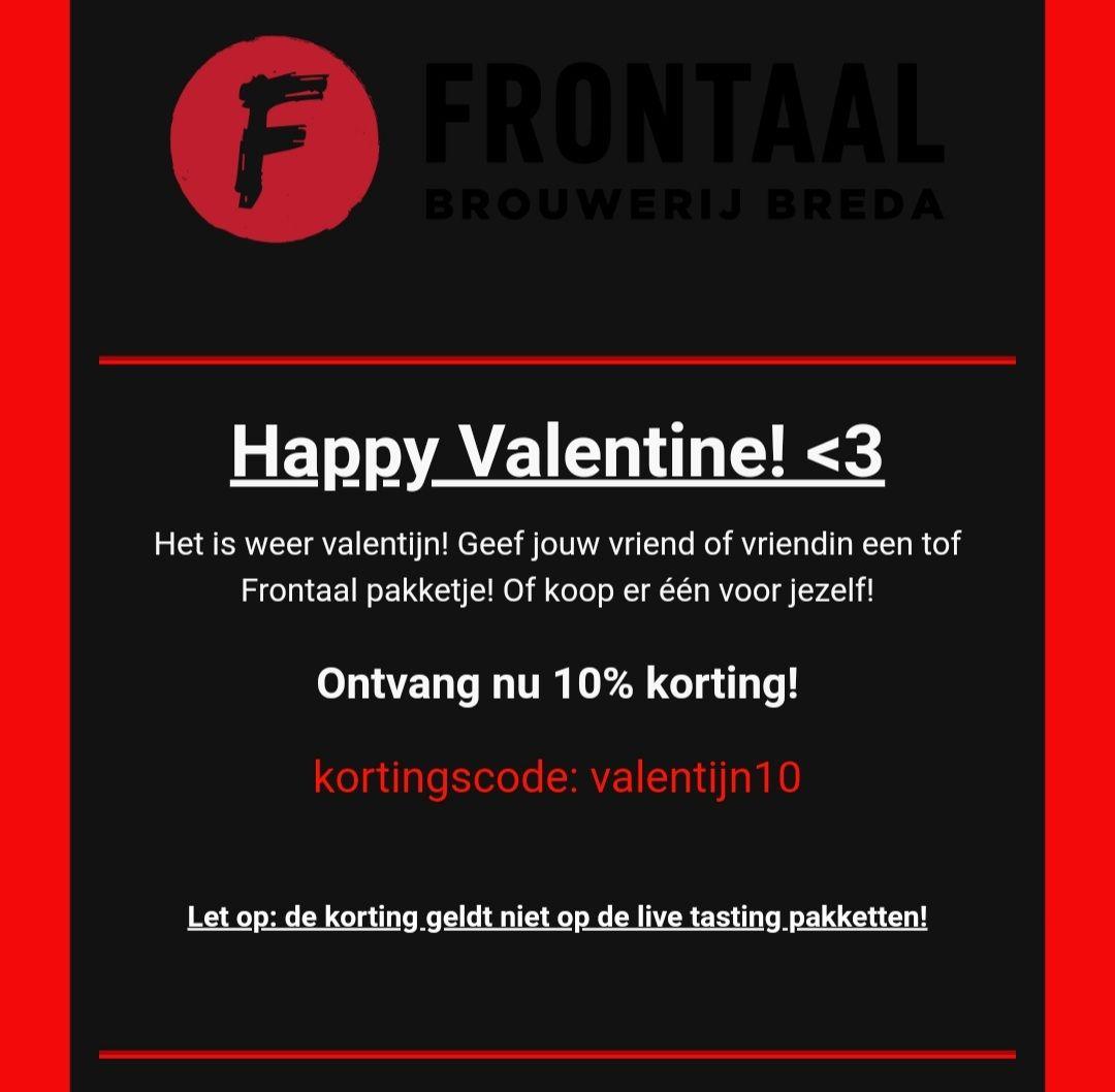 Brouwerij Frontaal 10% valentijnskorting