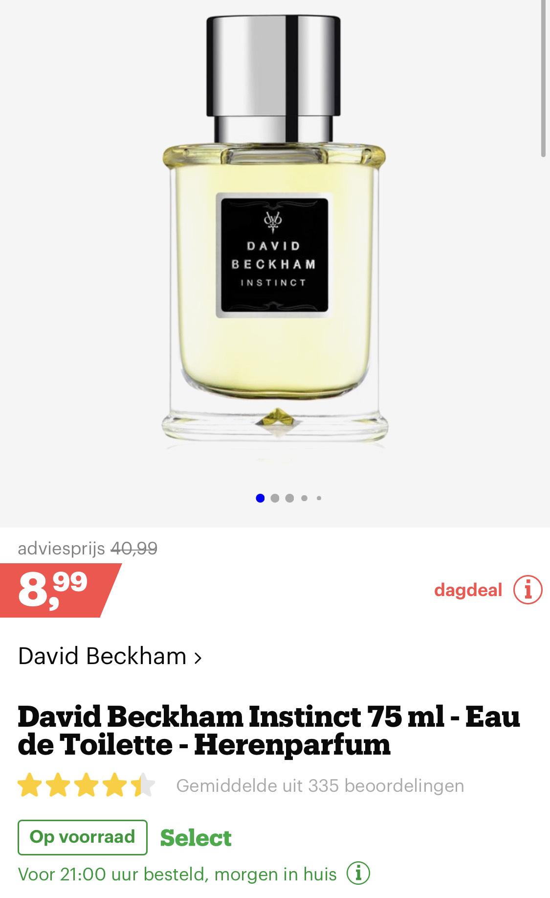 Dagdeal parfum Bol.com David Beckham Instinct 75 ml