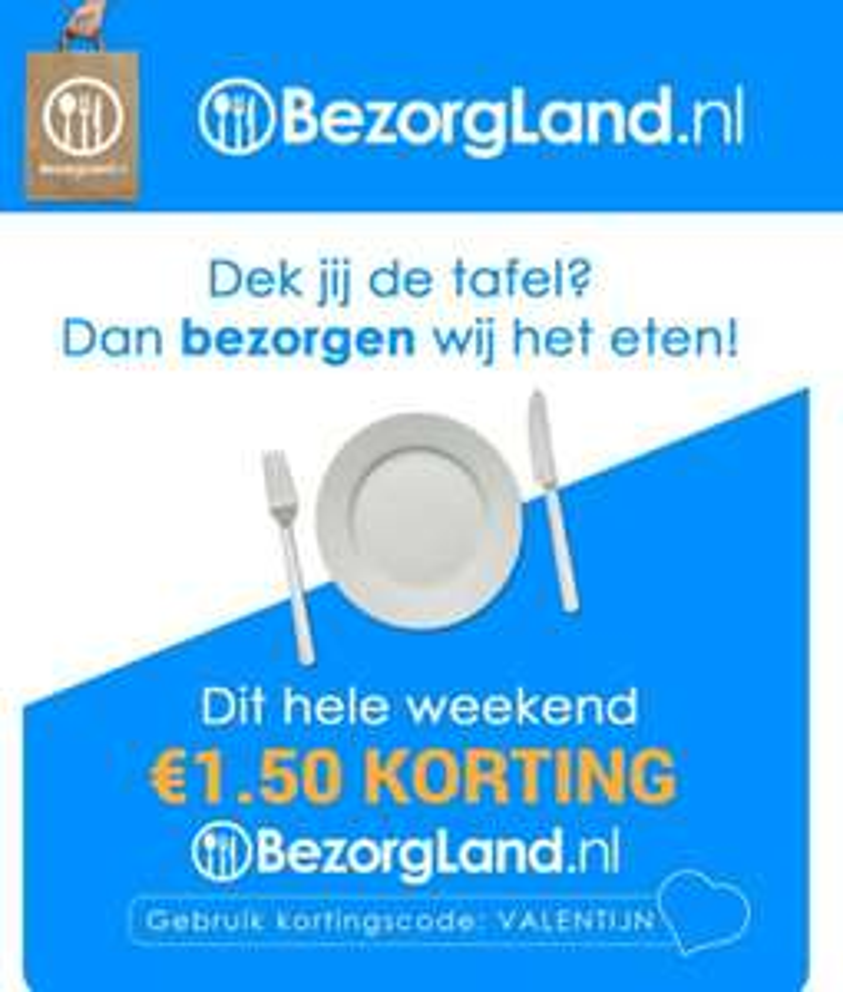 €1,50 korting bezorgland.nl vanaf €25