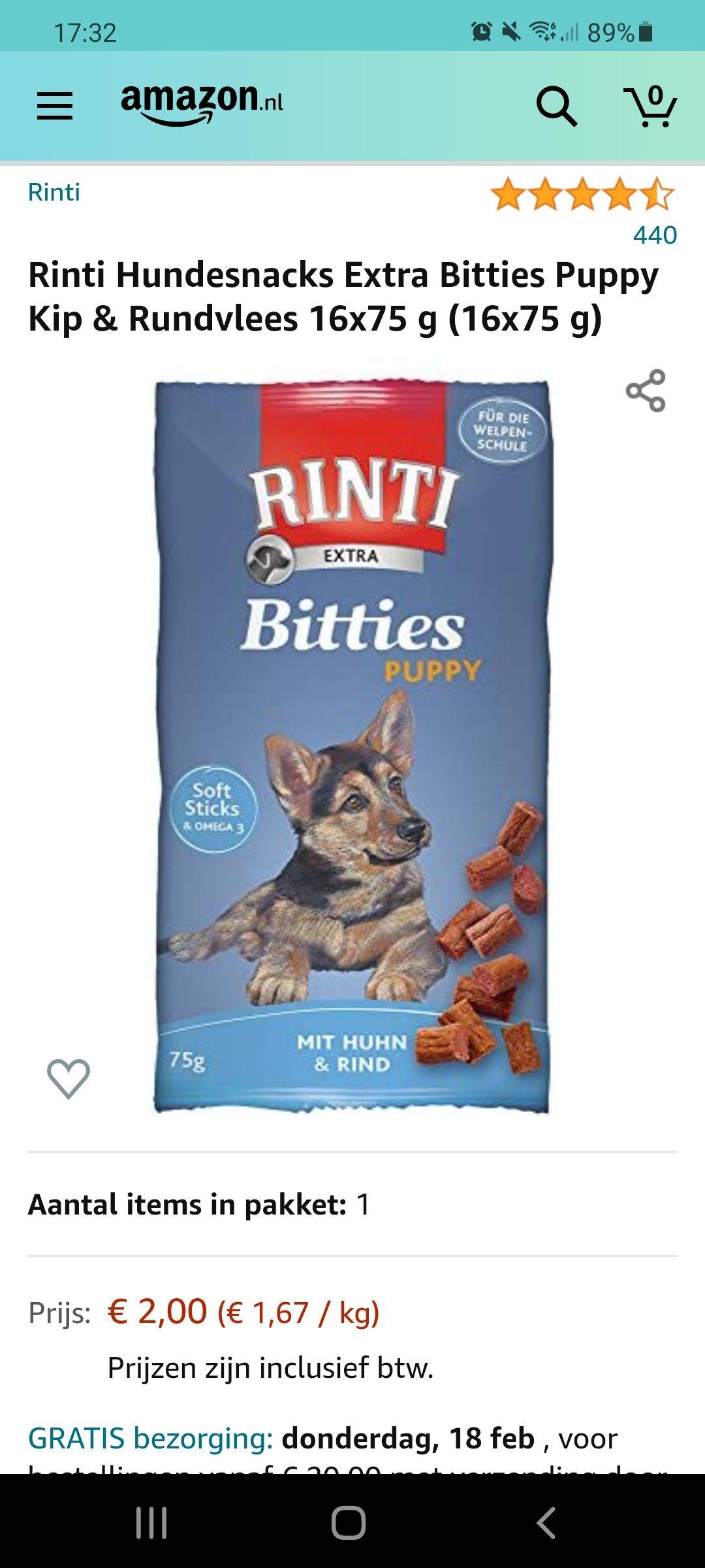 Rinti Hundesnacks Extra Bitties Puppy Kip & Rundvlees 16x75 g (16x75 g)