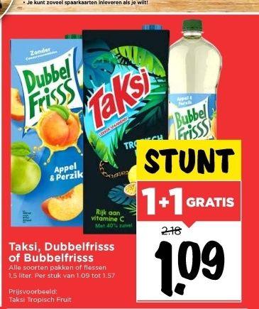 1+1 Gratis Taksi, dubbelfris of bubbelfris bij de VOMAR