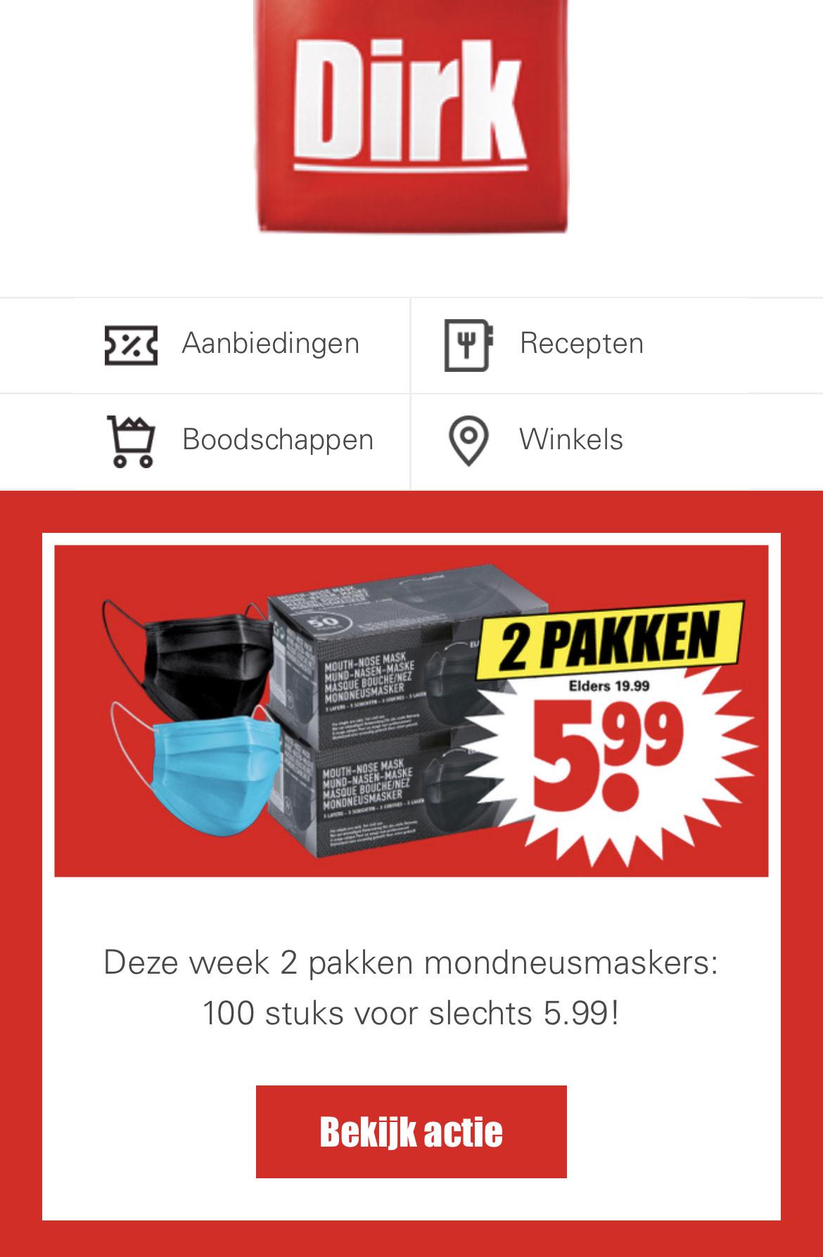 2 pakken mondkapjes (100st) voor 6 euro!