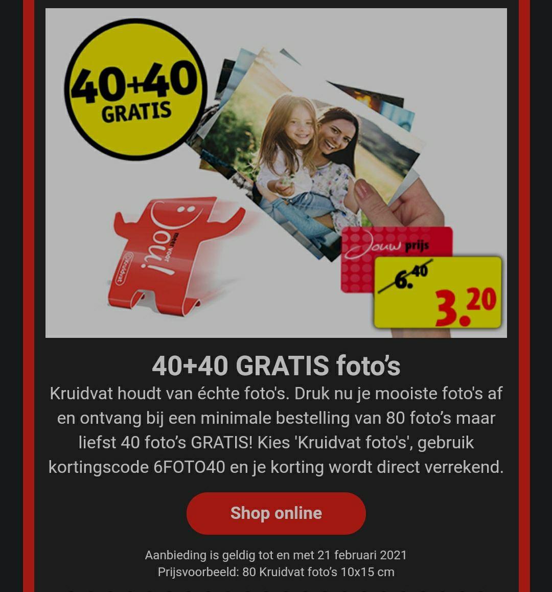40 + 40 foto's gratis bij Kruidvat foto's