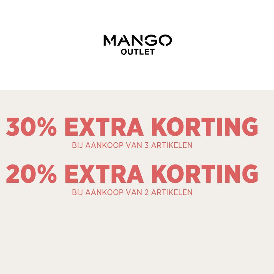 Met code 20-30% EXTRA korting [va 2-3 items] @ MANGO Outlet