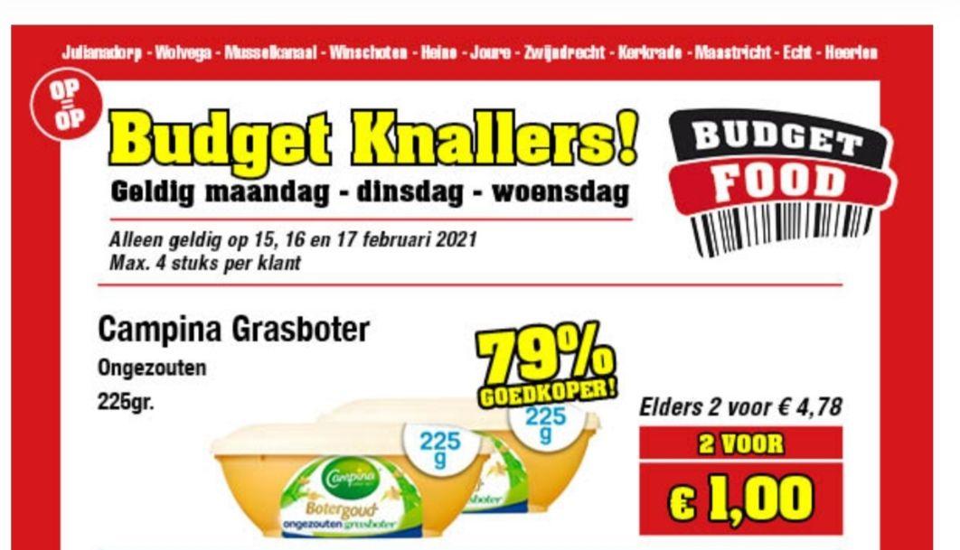 2 kuipjes Campina Grasboter ongezouten €1 @ Budget Food (79% korting)