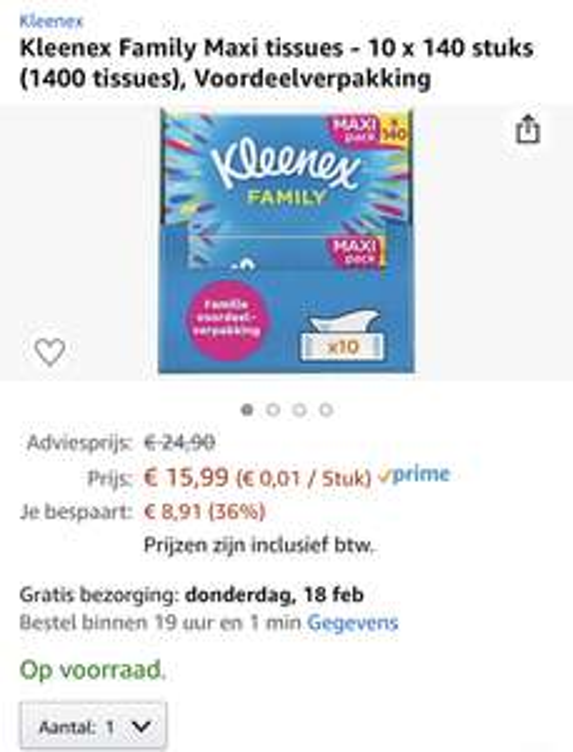 Kleenex Family Maxi tissues - 10 x 140 stuks (1400 tissues), Voordeelverpakking