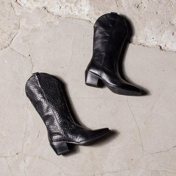 Echt leren cowboy boots - zwart // zwart croco [waren €79,99]