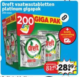 Dreft Platinum Jaarvolume vaatwastabletten 200 stuks @ Kruidvat.nl (€0,15 per pod)