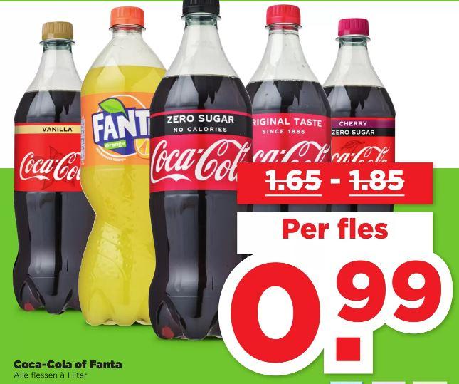 Cola en Fanta liter flessen voor €0.99 bij PLUS